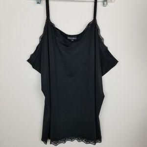Fashion Bug 4X Black Tank Top W/Lace Trim
